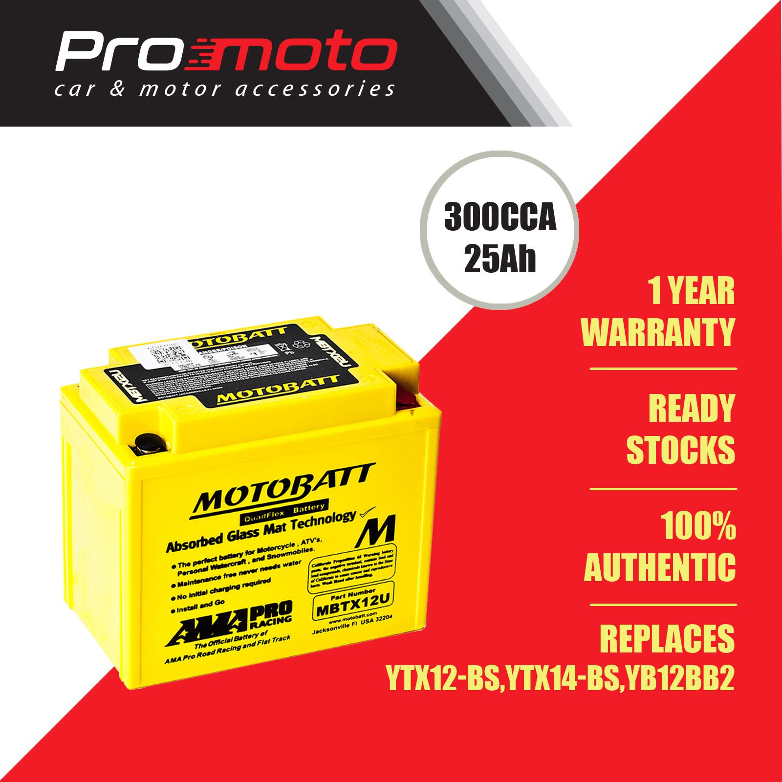 Motobatt Quadflex Battery MBTX12U (FOR HONDA, KAWASAKI, HARLEY-DAVIDSON & etc) (Replaces YTX12-BS, YTX14-BS,YB12BB2)