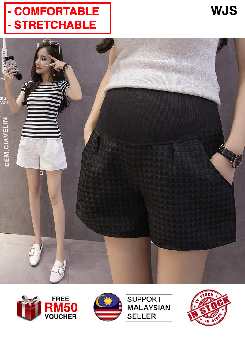 (COMFORTABLE + TRENDY) WJS Stretchable Maternity Pants Short Pants Pregnant Women Stomach Lift Pants Plaid Maternity Wide Leg Shorts Bottom Casual Pants Legging BLACK WHITE [FREE RM 50 VOUCHER]