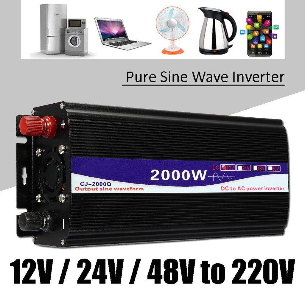 Motorcycles, Parts & Accessories - LED Display 2000W Pure Sine Wave Power Inverter 12V/ 24V/ 48V To 220V Converter - 48V / 24V / 12V
