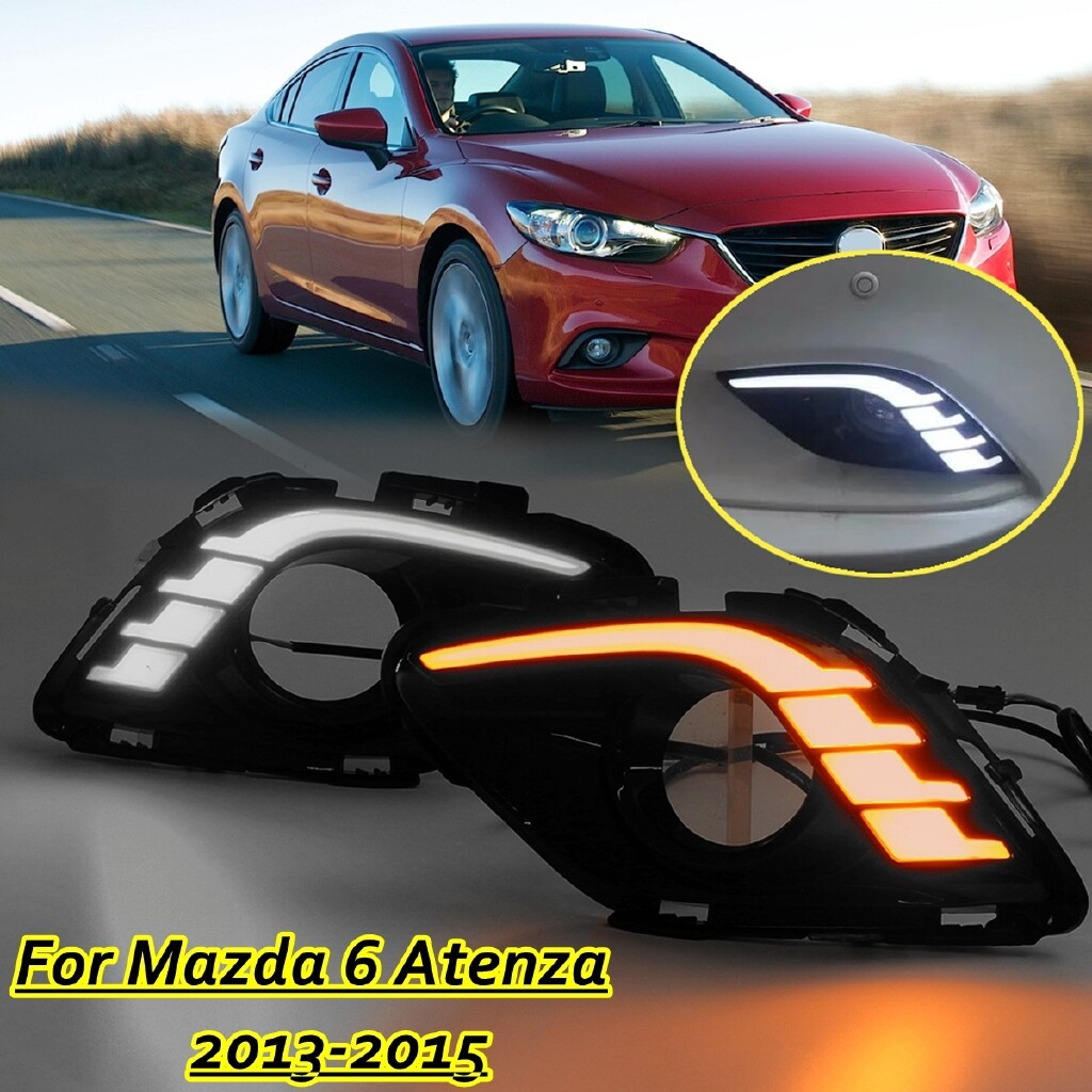 Car Lights - Pair LED DRL Daytime Running Light Turn Signal Lamp For Mazda 6 Atenza 2013-2015 - Replacement Parts