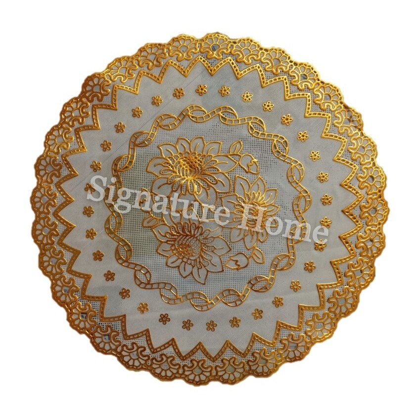 Signature Home Modern Gold Lace PVC Round Table Cloth - Design 4