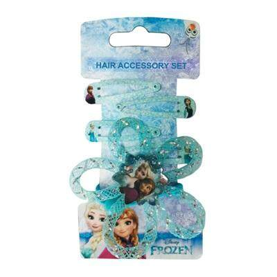 100% DISNEY AUTHENTICDisney Princess Frozen 2 In 1 Girls Elastic Rope Hair Ponytail Holders, Tic Tac Hair Clips