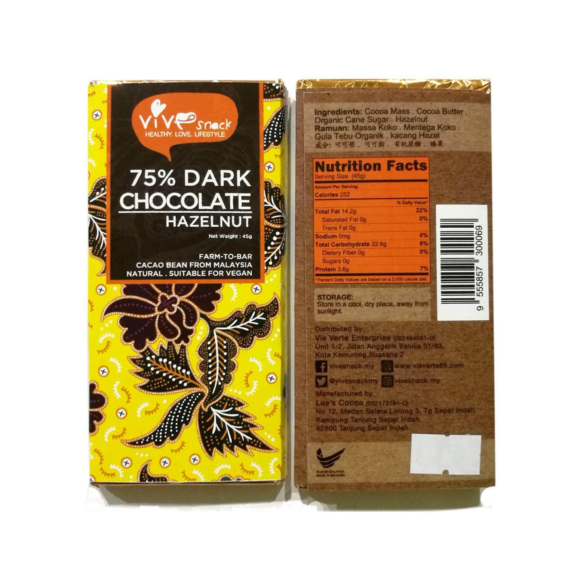 ViVe Snack 75% Dark Chocolate (Hazelnut) 45g x 2 - TWIN PACK