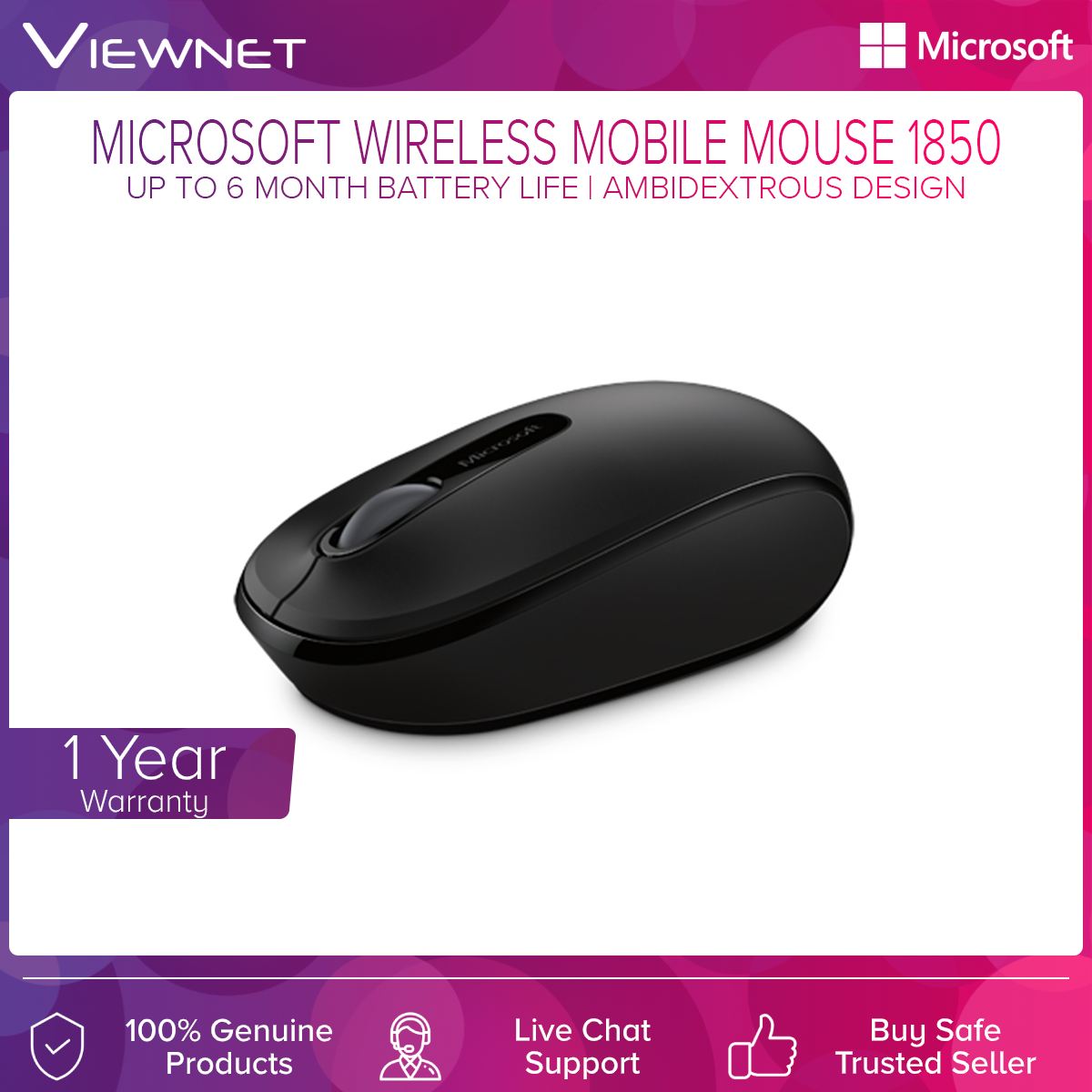 Microsoft Wireless Mobile Mouse 1850 with Plug and Play, Nano Receiver, Ambidextrous Design, Comfort and Portability, Up To 6 Month Battery Life