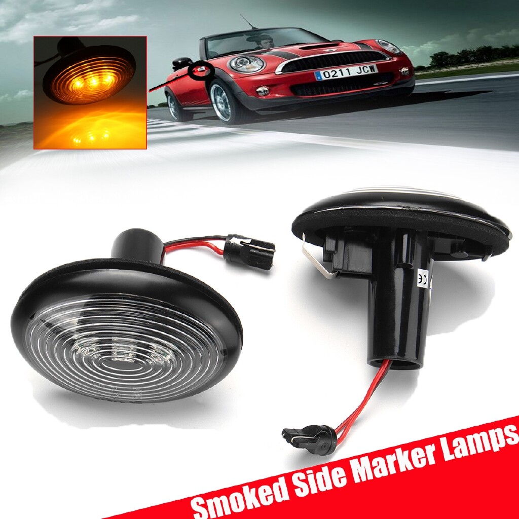 Car Lights - Black Smoked Side Marker Lamps w/Amber LED Lights For 2006-2014 MKII MINI Cooper - Replacement Parts