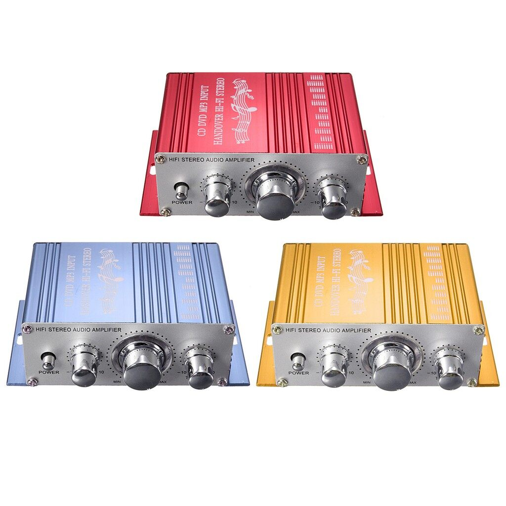 Radios - MINI 2CH Hi-Fi Stereo Amplifier Booster DVD MP3 Speaker Car Motorcycle_3C - BLUE / RED / YELLOW
