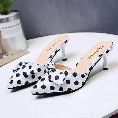 (READYSTOCK) WOMEN POLKA DOT HIGH HEELS WITH OR WITHOUT BOW TIE