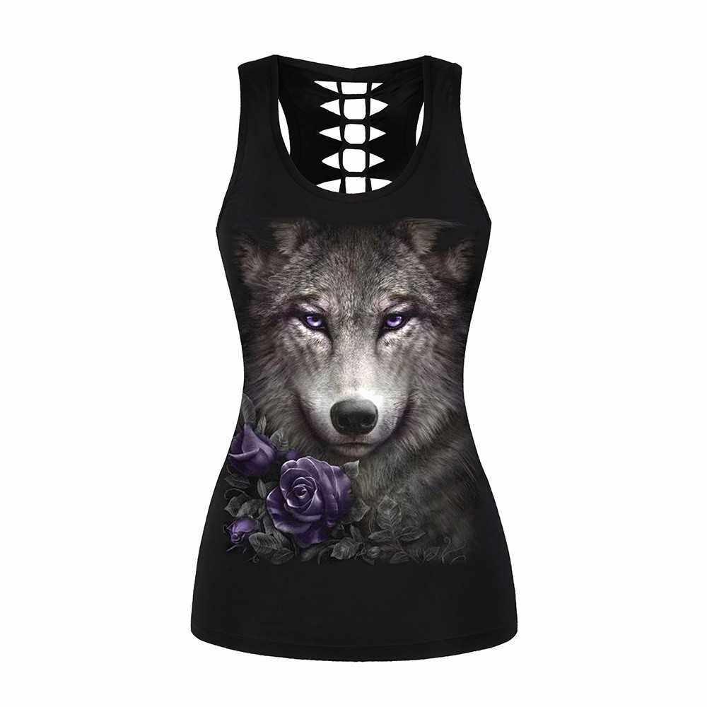 Women's Skull Print Halloween Out T-Shirt Sleeveless Summer 3D Print Wolf Tank Top Vest, L/XL (Black)