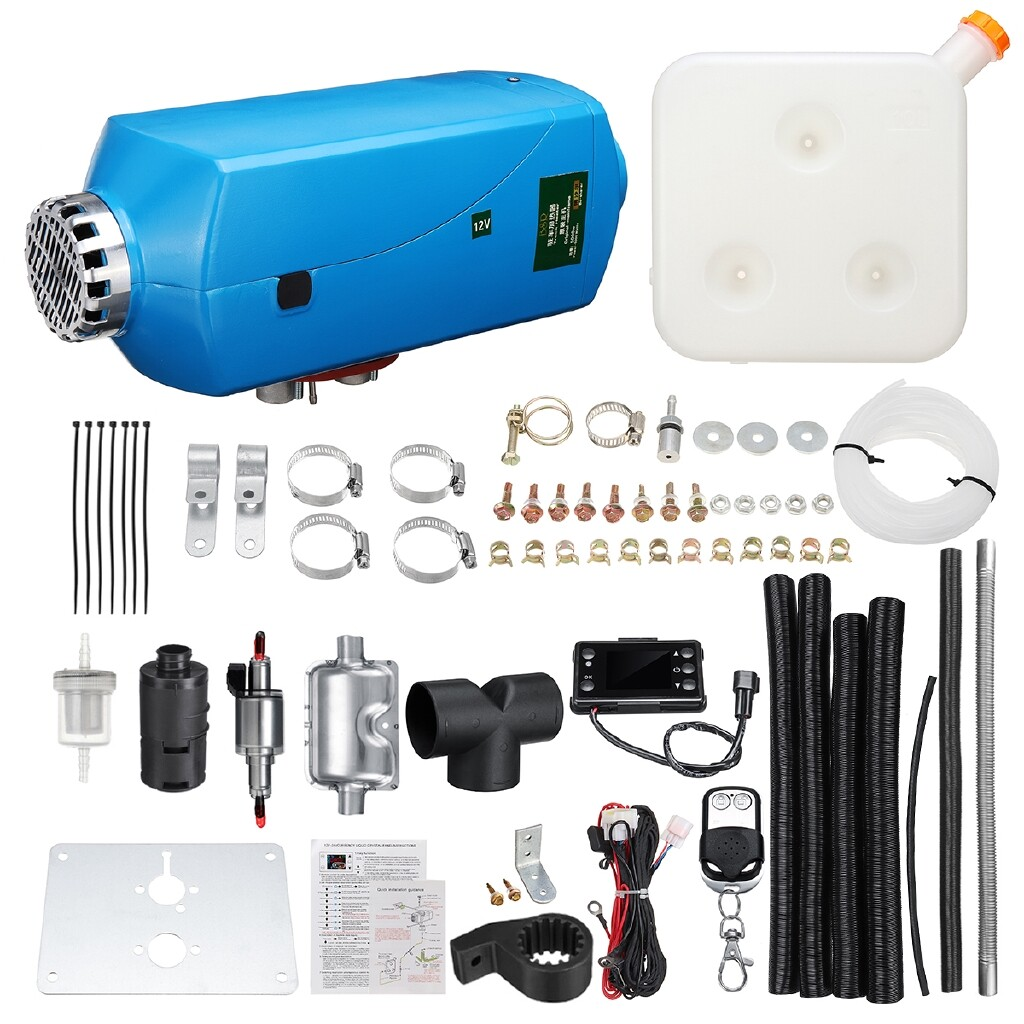 Exhaust - 5KW 12V Diesel Air Heater LCD Remote Control+Silencer For Truck Boat Car Trailer - Car Replacement Parts