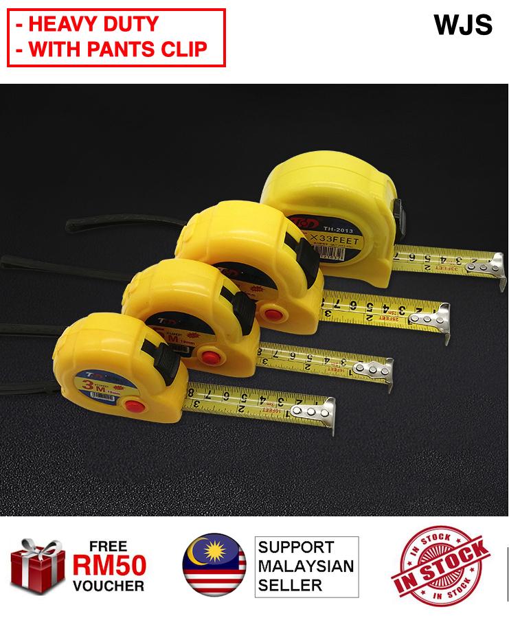 (WITH POCKET CLIP) WJS Heavy Duty Industry Measuring Tape Ruler 3m 5m 7.5m 10m Pita Pengukur Pembaris YELLOW [FREE RM 50 VOUCHER]