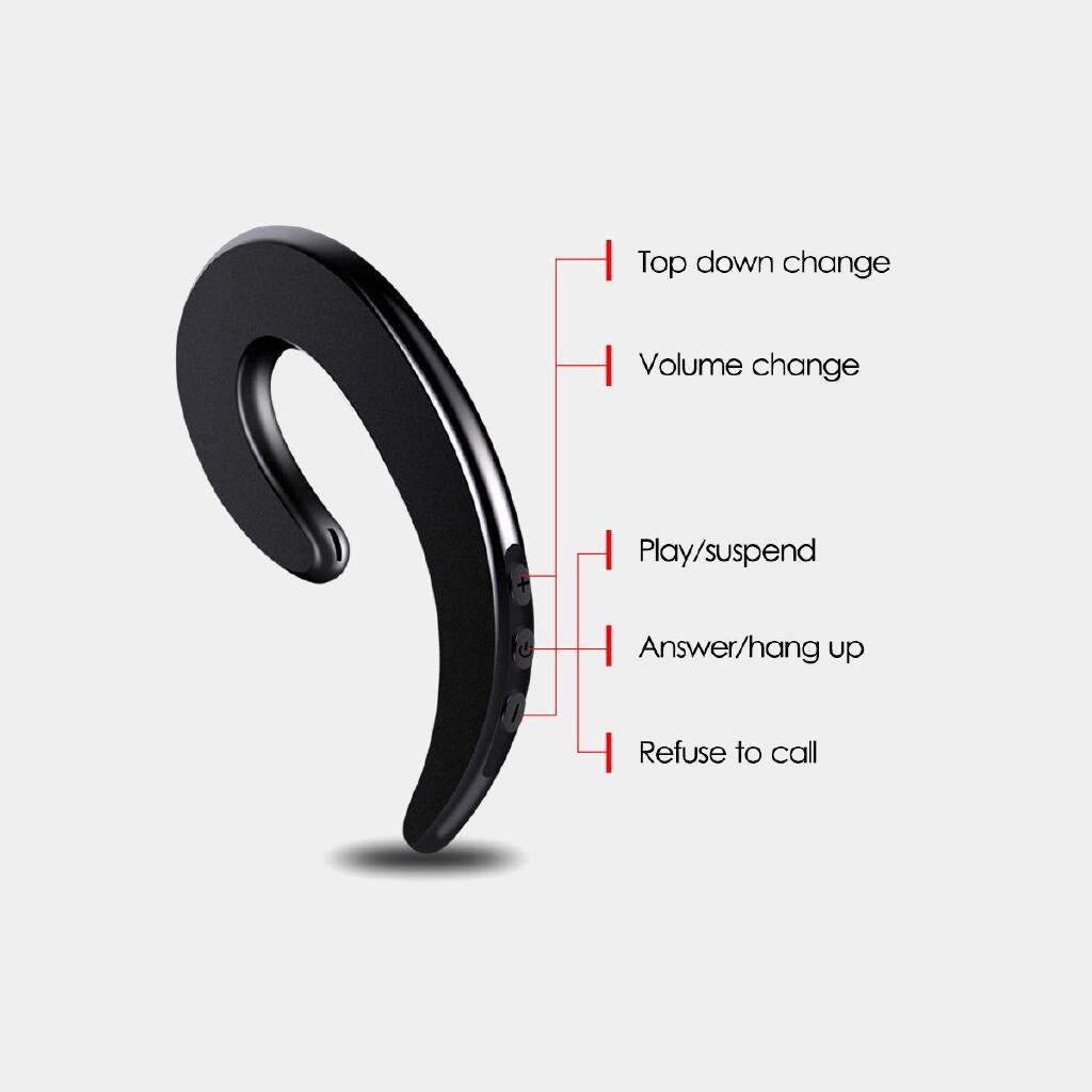 WIRELESS Earbuds - WIRELESS Bone Conduction Headphones BLUETOOTH 4.1 Earphone Music Head SET w/ Mic - GOLD-- / RED-- / SILVER-- / BLACK