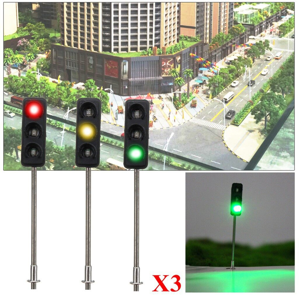 Engine Parts - 3x 50mm HO / OO Model 3-Light Traffic Lights Signal Architecture Street Train - Car Replacement