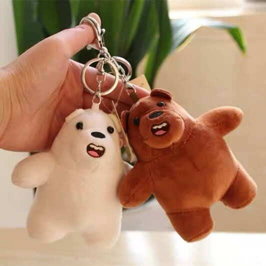 Mini we bare bear plush toy Key Chain we barebear 裸熊玩具
