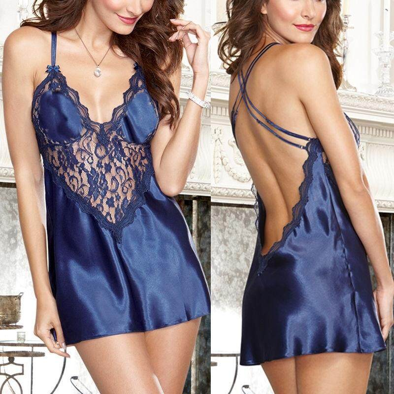 Women Ladies Sexy Lingerie Sleep Wear Satin Nightdresses Shirts Lingerie Nightwear Set of 2 Nightwear + G String (Blue) #1424
