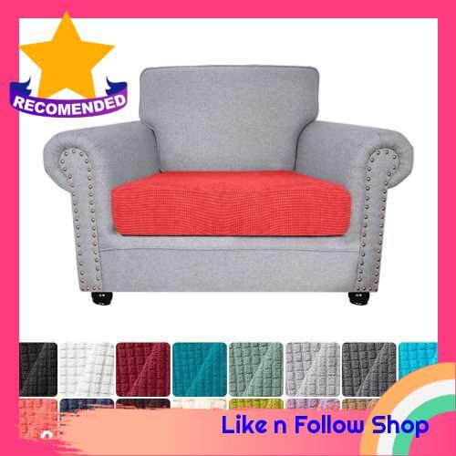 Sofa Seat Slipcovers Couch Cushion Covers 1 Seater Stretch Spandex Non Skid Jacquard Fabric Furniture Protector Washable (Red Orange) (Orange & Red)