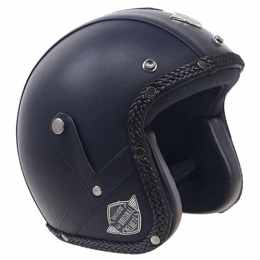 Retro Windproof and Sandproof 3/4 Motorcycle Bike Full Face Helmet PU Leather Helmets for Harley (Cbxl2)