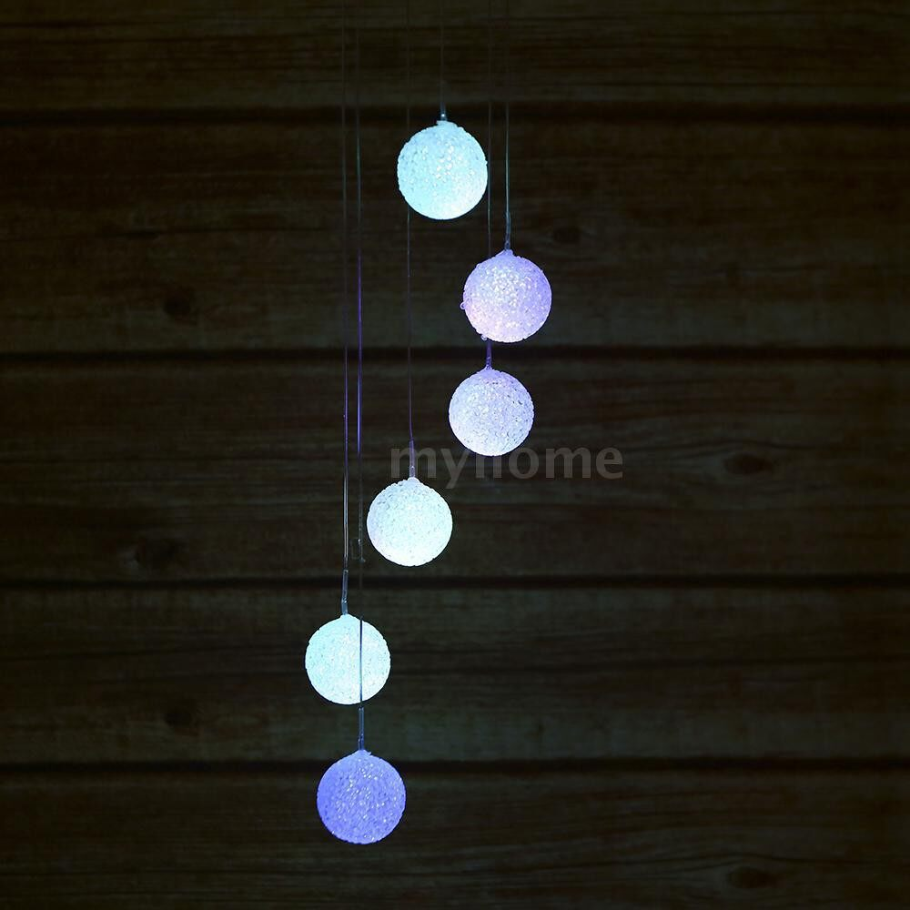 Outdoor Lighting - Color Changing Solar Wind Chime Six Balls Mobile Romantic Wind-Bell Outdoor LED Hanging Night - #