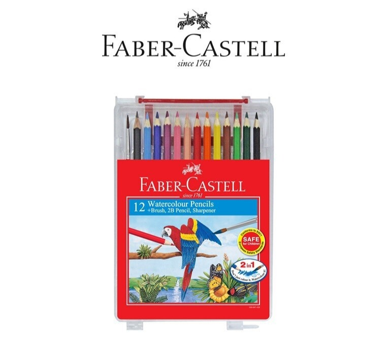 Faber-Castell 12 Watercolour Pencils + Brush + 2B Pencil + Sharpener