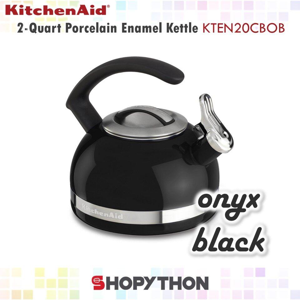 KitchenAid 2-Quart Porcelain Enamel Kettle with C Handle (1.9L) Onyx Black Whistle Removable Lid Induction Cooker Stove