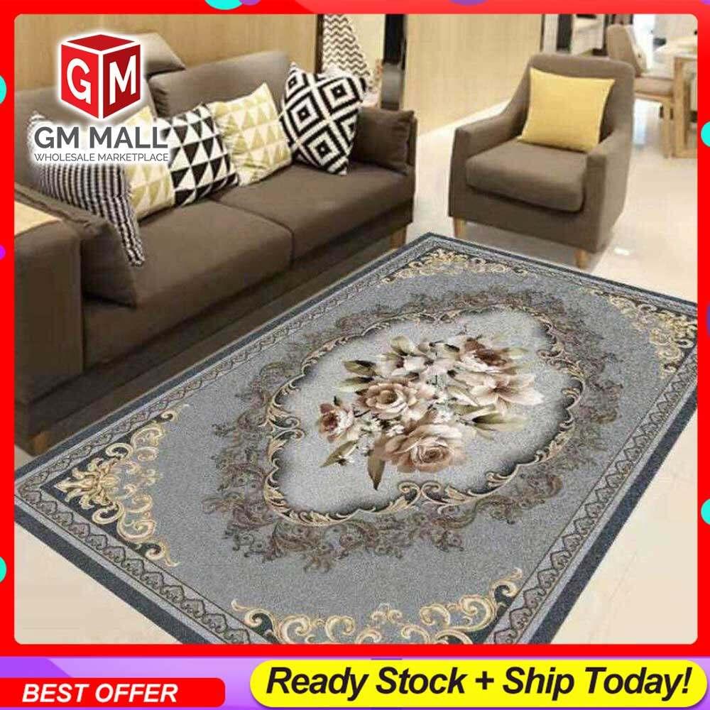 NEW DESIGN CARPET SIZE BESAR L/XL European Style Carpet Printed 3D Grey Vintage Mat Floor - Karpet Bercorak 3D Waterproof/Living Room/Bedroom Material Velvet (C-25)