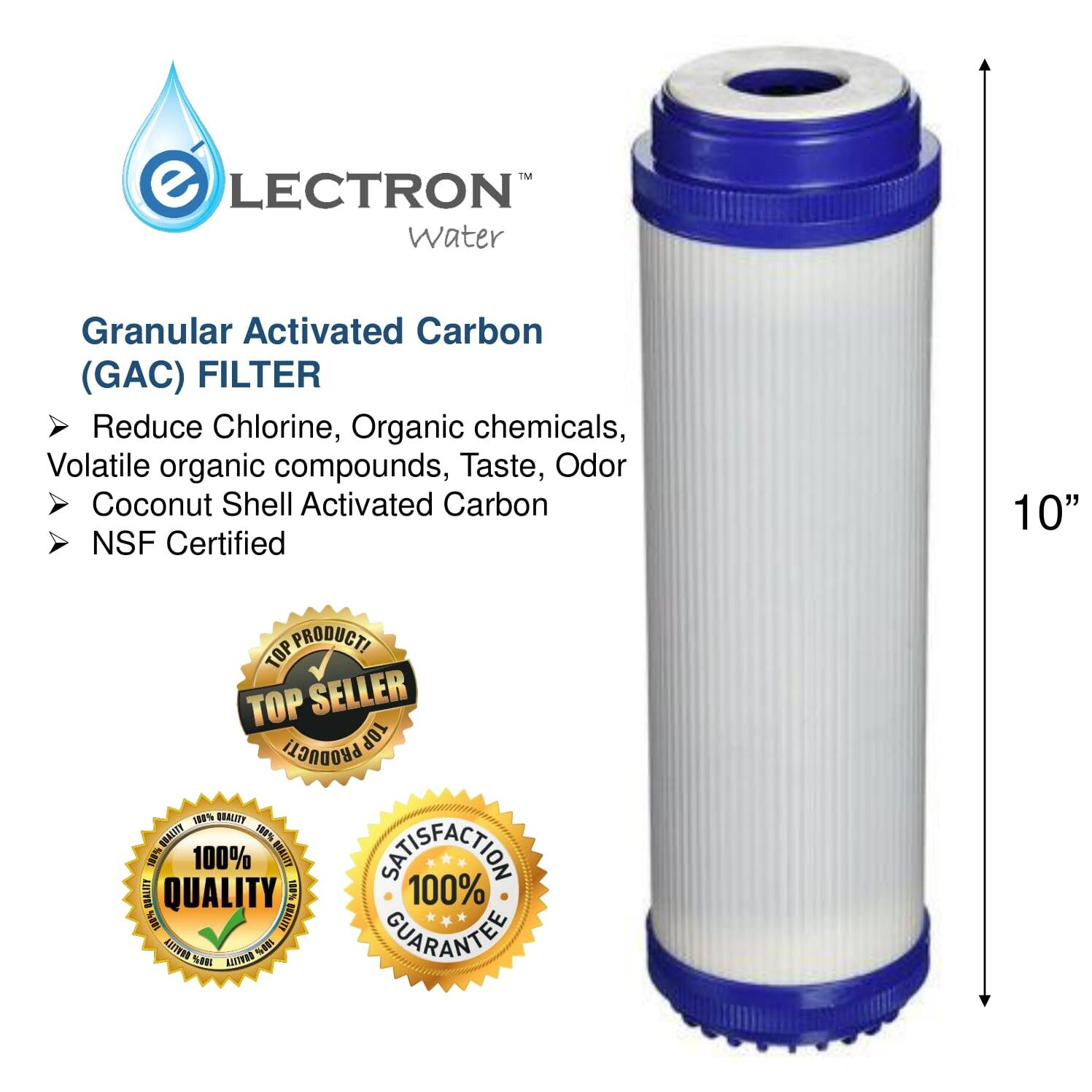 10 inches High Quality Granular Activated Carbon (GAC) Filter Cartridge