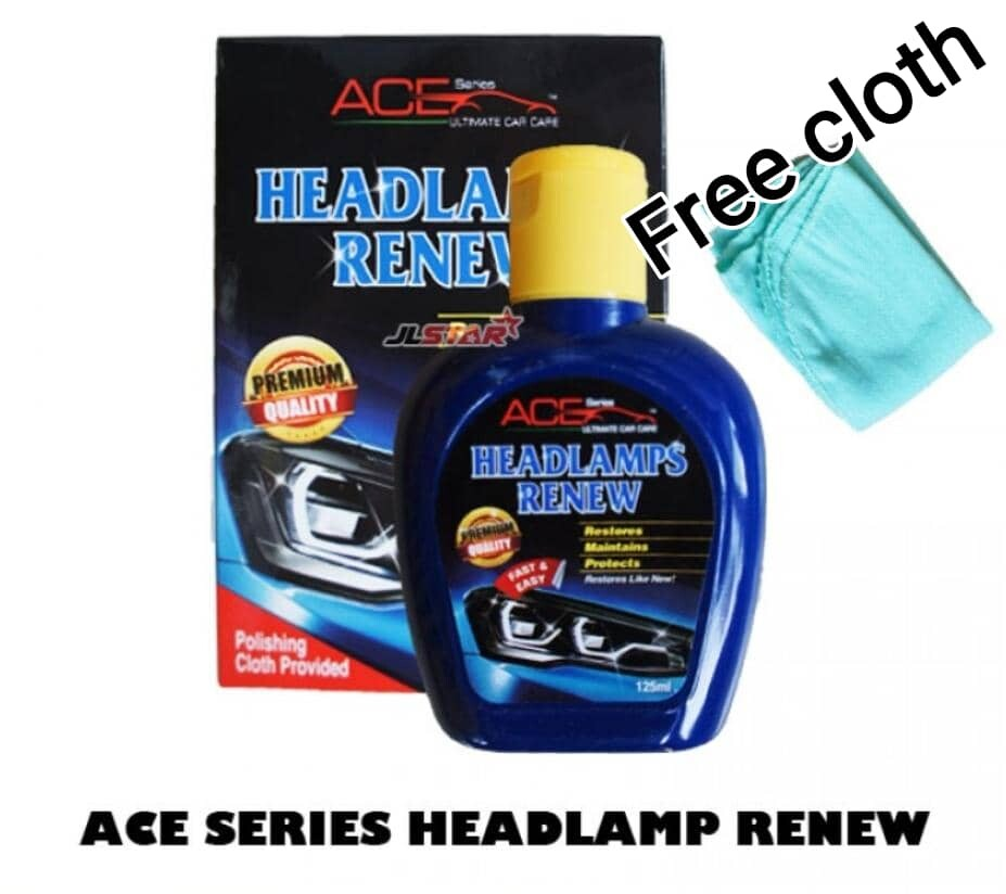 ACE SERIES HEADLAMPS RENEW LIQUID POLISH 125ML - RESTORE HEADLAMP CLEAR VISION (FREE CLOTH) CLEAN IN JUST FEW MINUTES  - Made in Malaysia