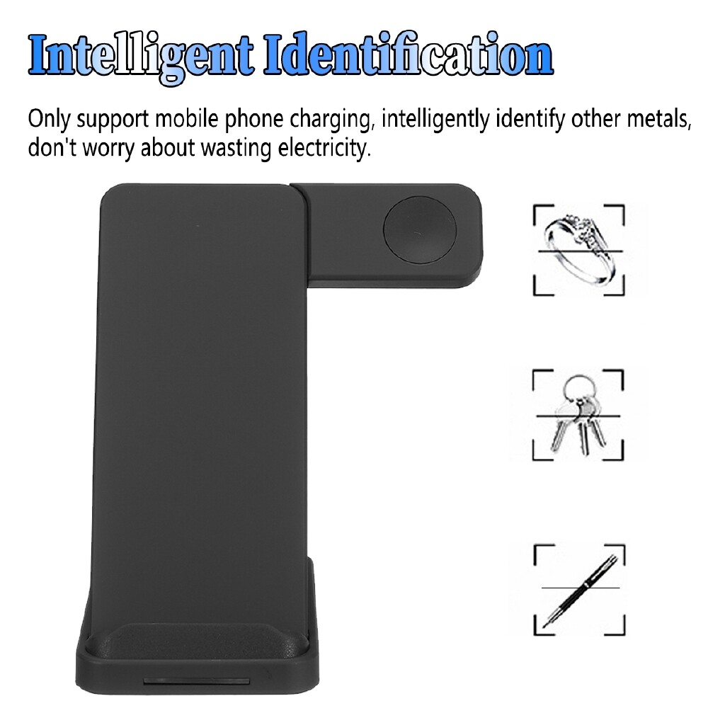 Chargers - YQ02 QI WIRELESS Fast Charger Phone Watch Charging Holder Mount Dock For iPh 10W - BLACK