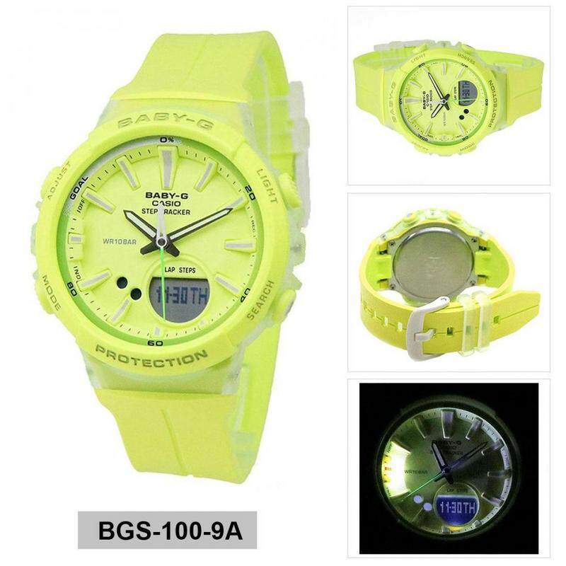 {Special Offer} Casio_Baby_G_BGS-100-1A STEP TRACKER Resin Sport Fashion Women Watch Full Set All Colour Available Ready Stock