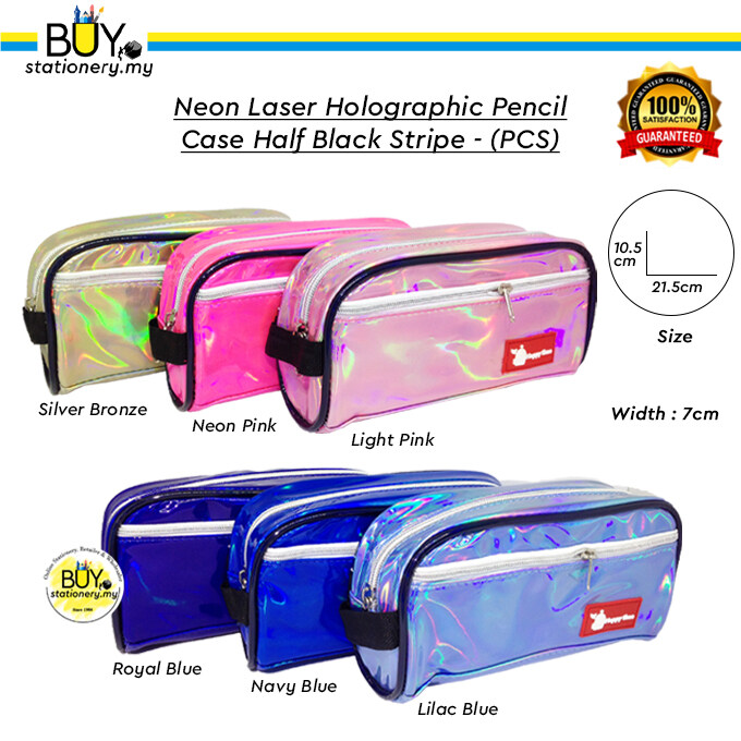 Neon Laser Holographic Pencil Case Half Black Stripe - (PCS)