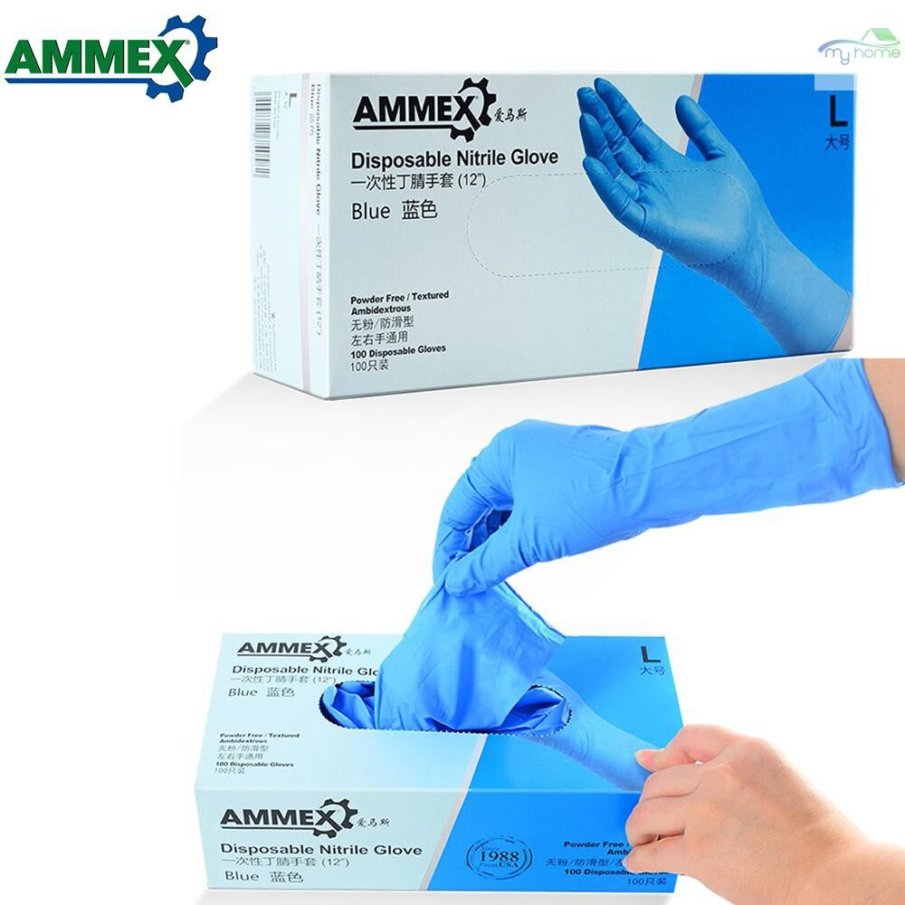Protective Clothing & Equipment - 100 PIECE(s) Disposable Nitrile Rubber Glove Thick Rubber Powder Free Strong Stretchy Gloves for - L / M / S