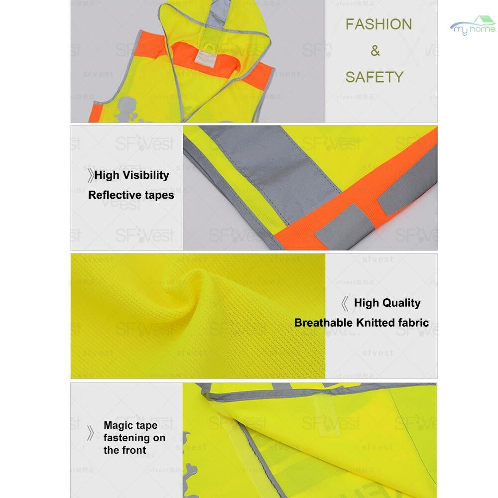 Protective Clothing & Equipment - SFVest High Visibility Children Safety Reflective Vest Kindergarten Reflecting Coat Safety Clothing - YELLOW-XL / YELLOW-L / YELLOW-M / YELLOW-S