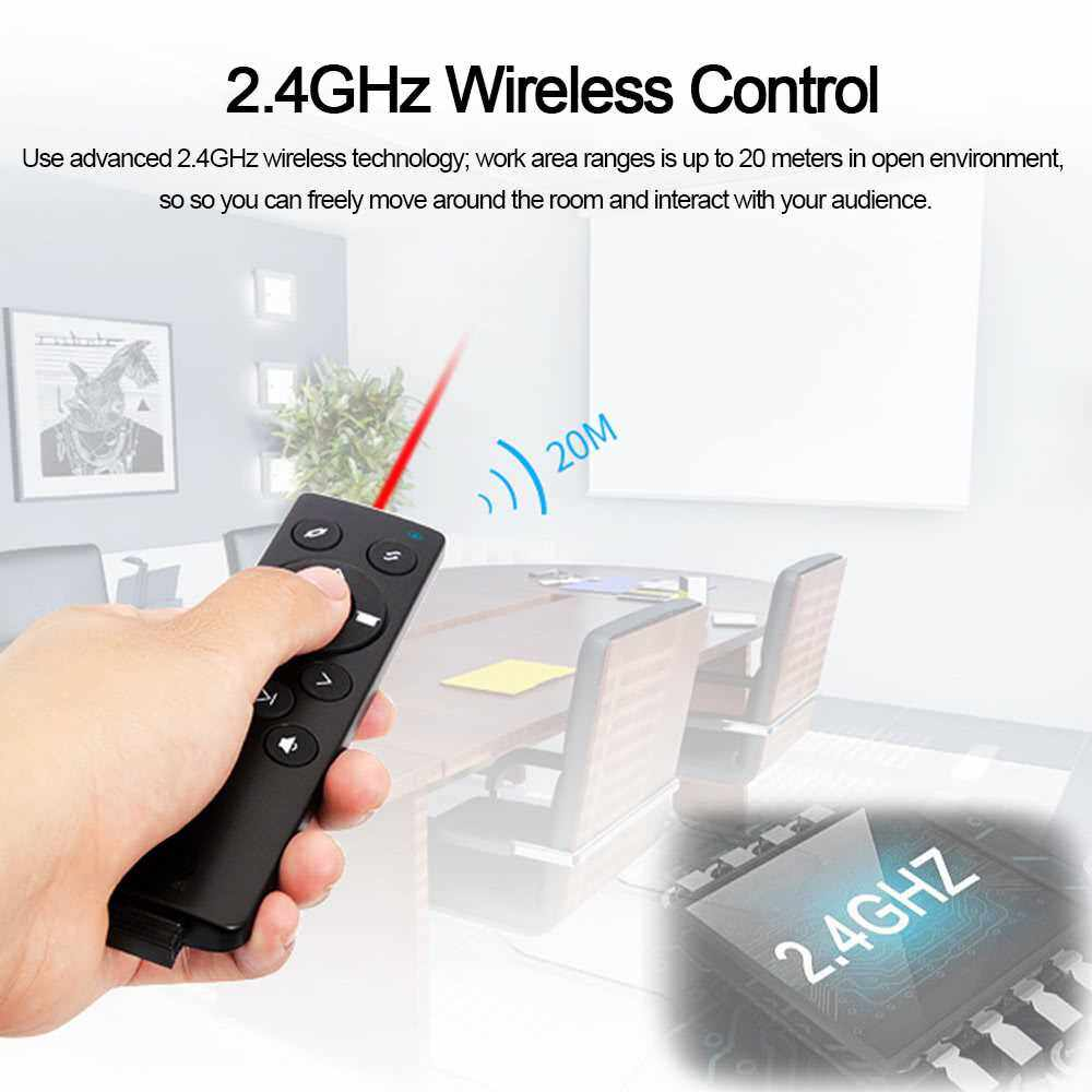 K2 Laser Pointer RF 2.4GHz Wireless Multifunctional Presenter PowerPoint PPT Clicker Remote Control Plug and Play Black (Standard)