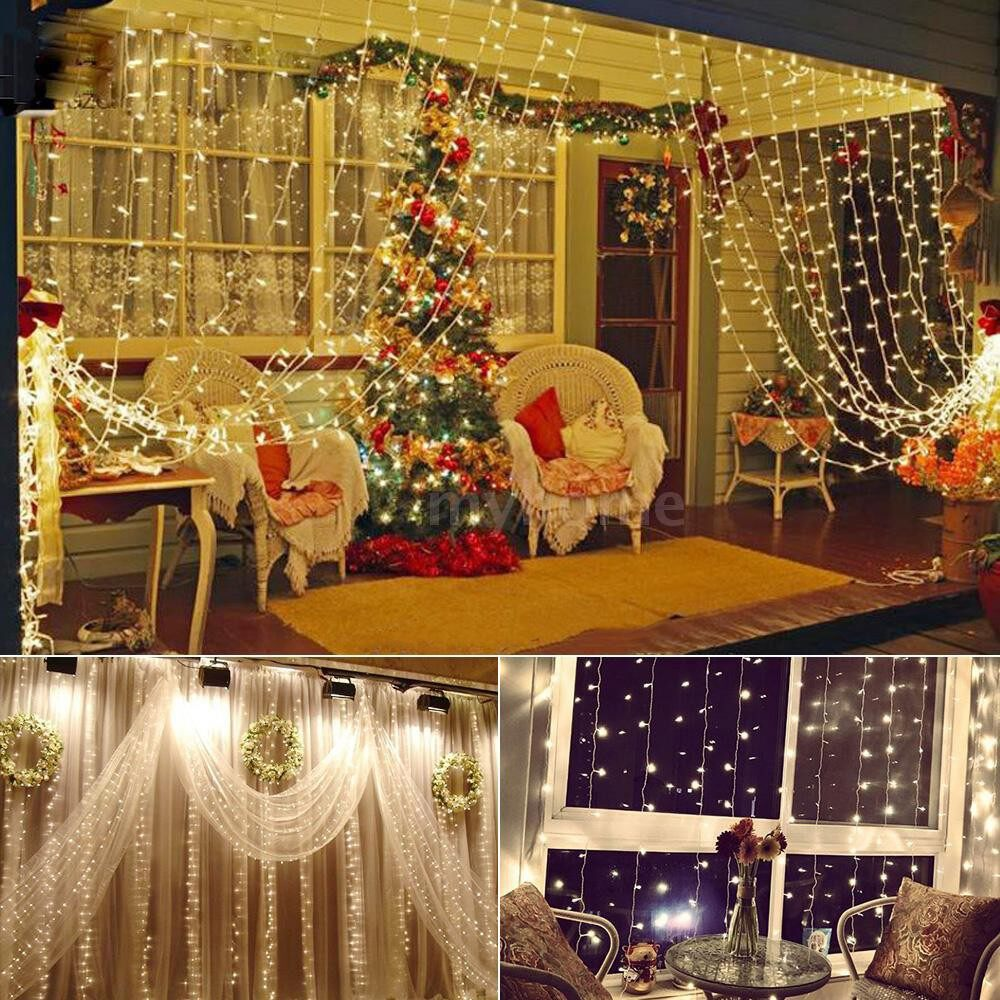 Lighting - 300 LEDs Fairy Curtain Light 3m 3m 12 Strings Window String Lights with Remote Control 6H Timer - Home & Living