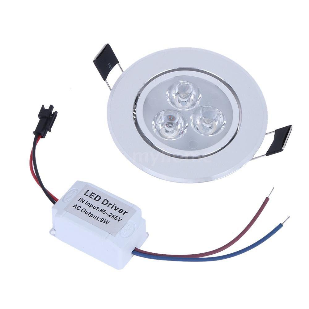 Lighting - 9W LED Downlight Ceiling Lamp Spot Light Recessed AC85-265V Lamp + LED Driver for Home Illumination - WHITE / WARM WHITE