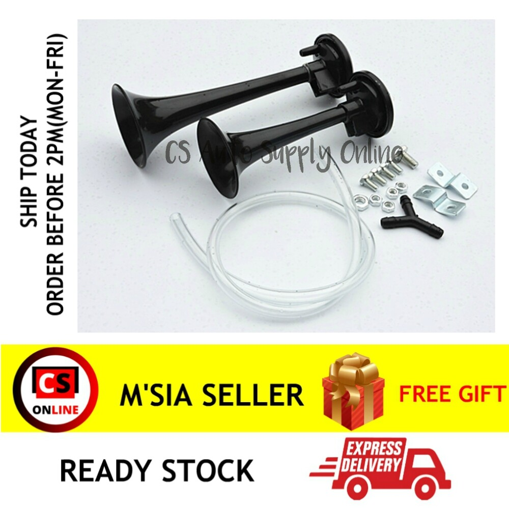 [Ready Stock] 12v Twin Tone Air Horn & Compressor 2 tone Complete with Fittings & Hose