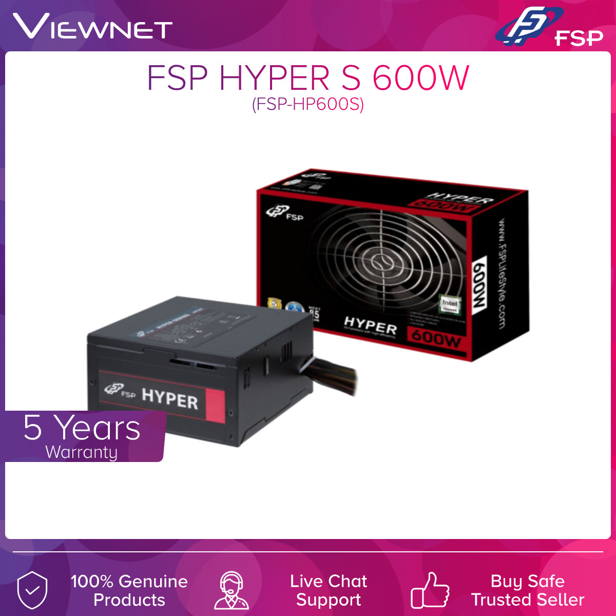 FSP Power Supply HYPER S 600W, HYPER Series Power Supply meets the market mainstream and provides efficiency more than 85%.With the +12 single rail design, SATA array cable, optimized the airflow in case, no-hassle with case side panel