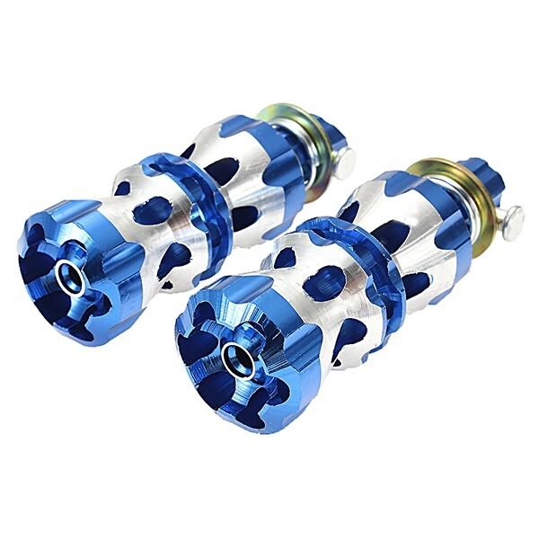Moto Accessories - 32mm Motorcylce Foot Pegs Pedals Treadles Footrest Foot Peg Universal - BLUE / RED