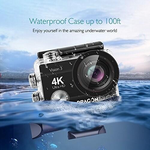 DragonTouch Vision 3 4K Action Camera 16MP Waterproof Camera WiFi Sports Camera