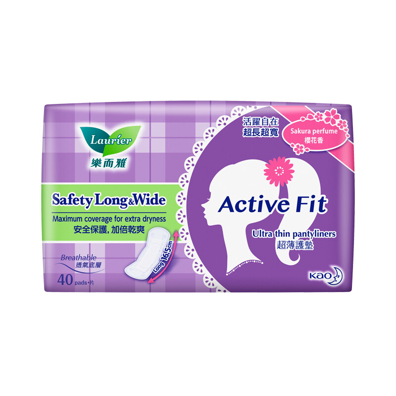 Laurier Active Fit Safety Long & Wide Sakura Perfume Pantyliners (40's)