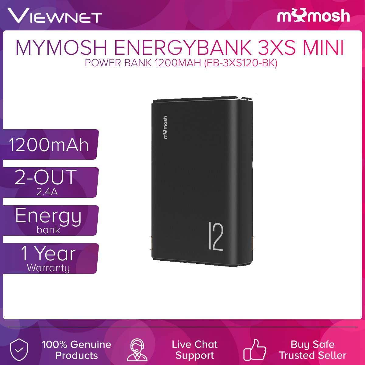 Mymosh 1200mAh Energybank 3XS Mini 2-Out 2.4A (EB-3XS120-BL) Navy Blue / (EB-3XS120-BK) Black