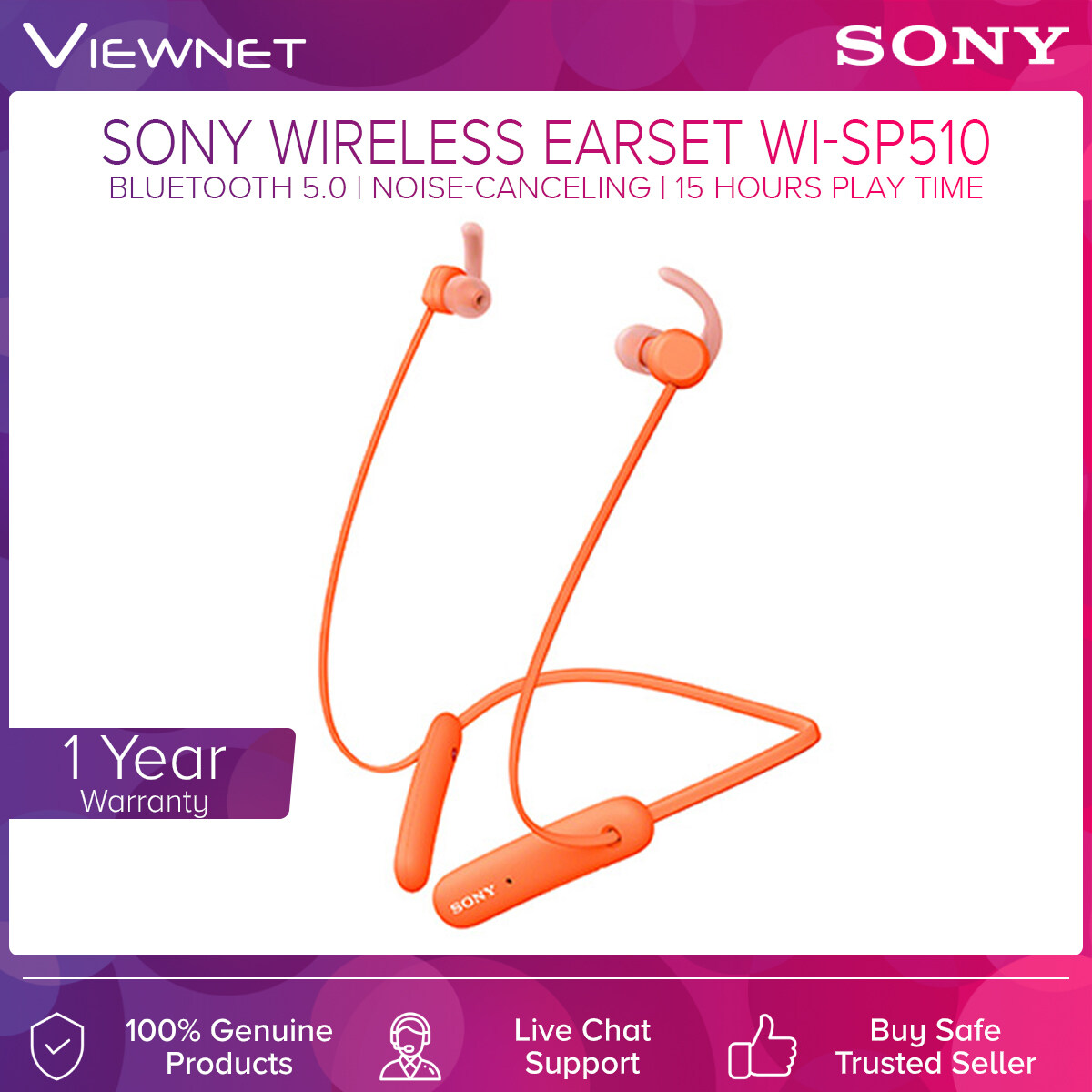 Sony Wireless Headphones For Sports WI-SP510 with Bluetooth 5.0 Connection, 15 Hours Battery Life, IPX5 Rating, Extra Bass, Voice Assistant Compatible