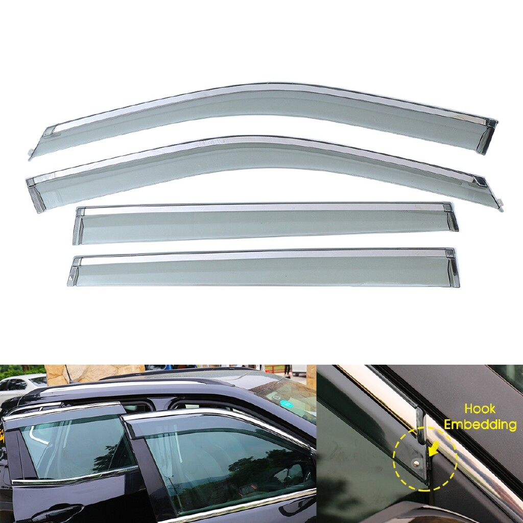 Windscreen Wipers & Windows - 4 PIECE(s) Window Visor Rain Deflectors Guard Vent Shade Chrome For Jeep Compass - Car Replacement Parts
