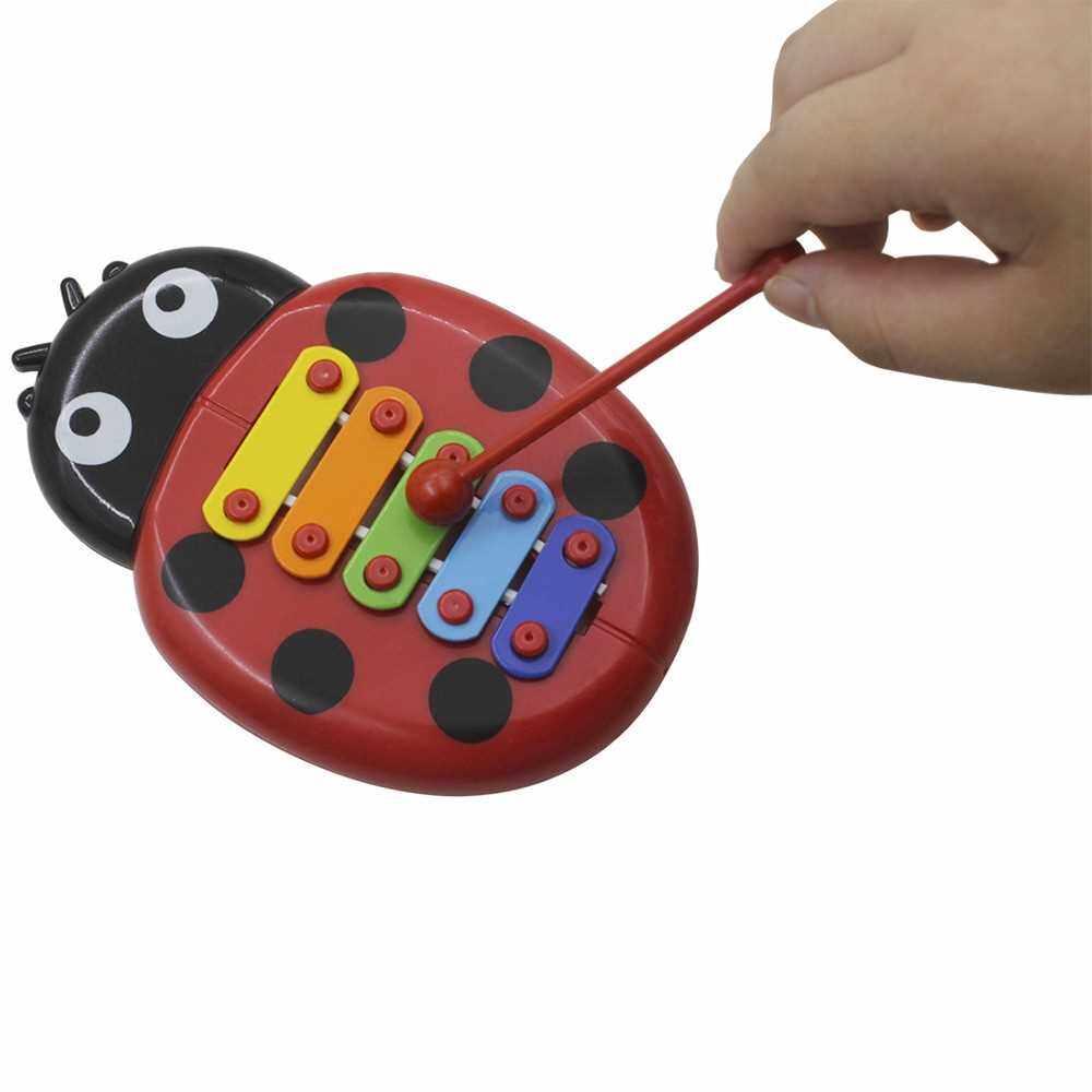 Musical Toys Percussion Instruments Band Rhythm Kit for Kids Children Toddlers Including Cute Tambourine + Wooden Guiro + Cartoon Glockenspiel + Rain Stick + Handbells + Egg Shape Maracas (1)