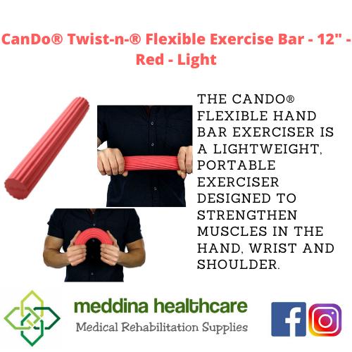 """(CANDO BRAND) Flexible Exercise Bar - 12"""" - Red - Light"""