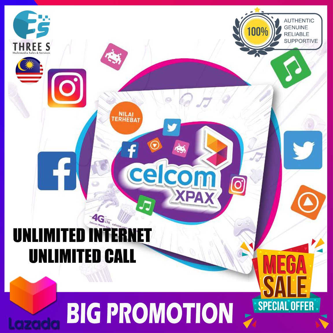 CELCOM UNLIMITED INTERNET AND UNLIMITED CALL