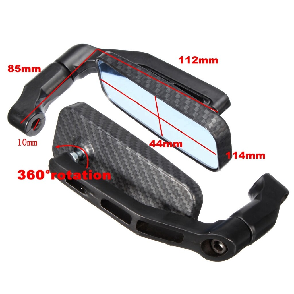 Moto Accessories - Pair Universal Motorcycle Bike Rectangle Rear View Mirrors 8mm 10mm Black Carbon - CARBON / BLACK