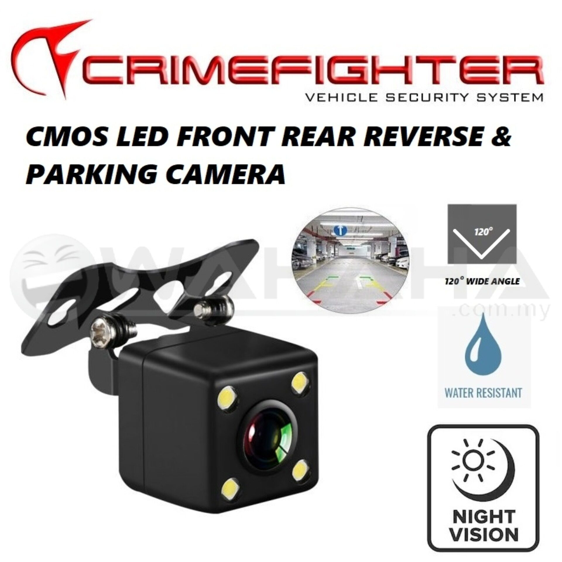CRIMEFIGHTER Car Front & Rear View Reverse Camera Parking Camera CMOS LED 120 Degree Wide Angle HD Camera