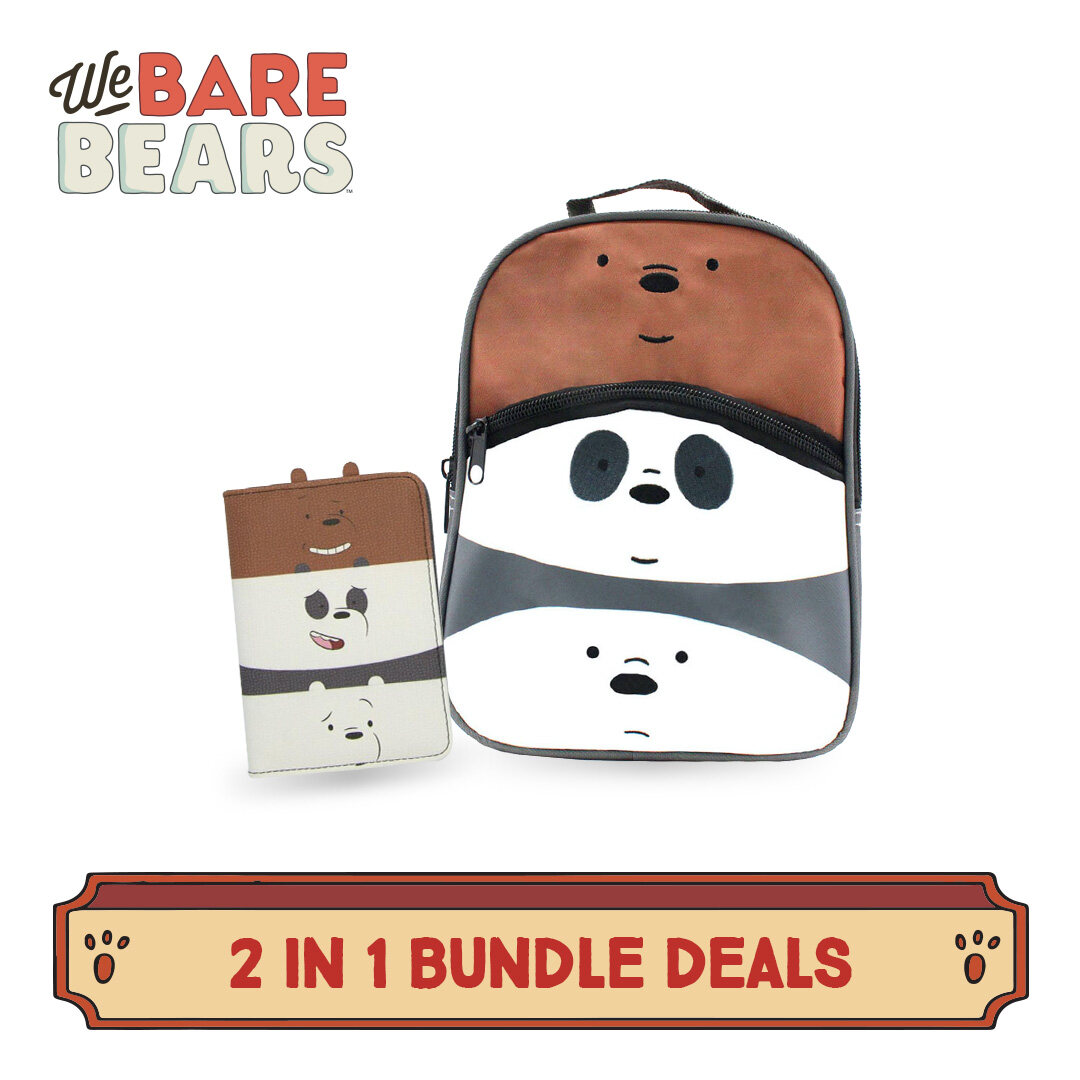 """[9.9] We Bare Bears 2 In 1 Crossed-Body Bag 9 Inches & Passport Holder Value Bundle Set"""