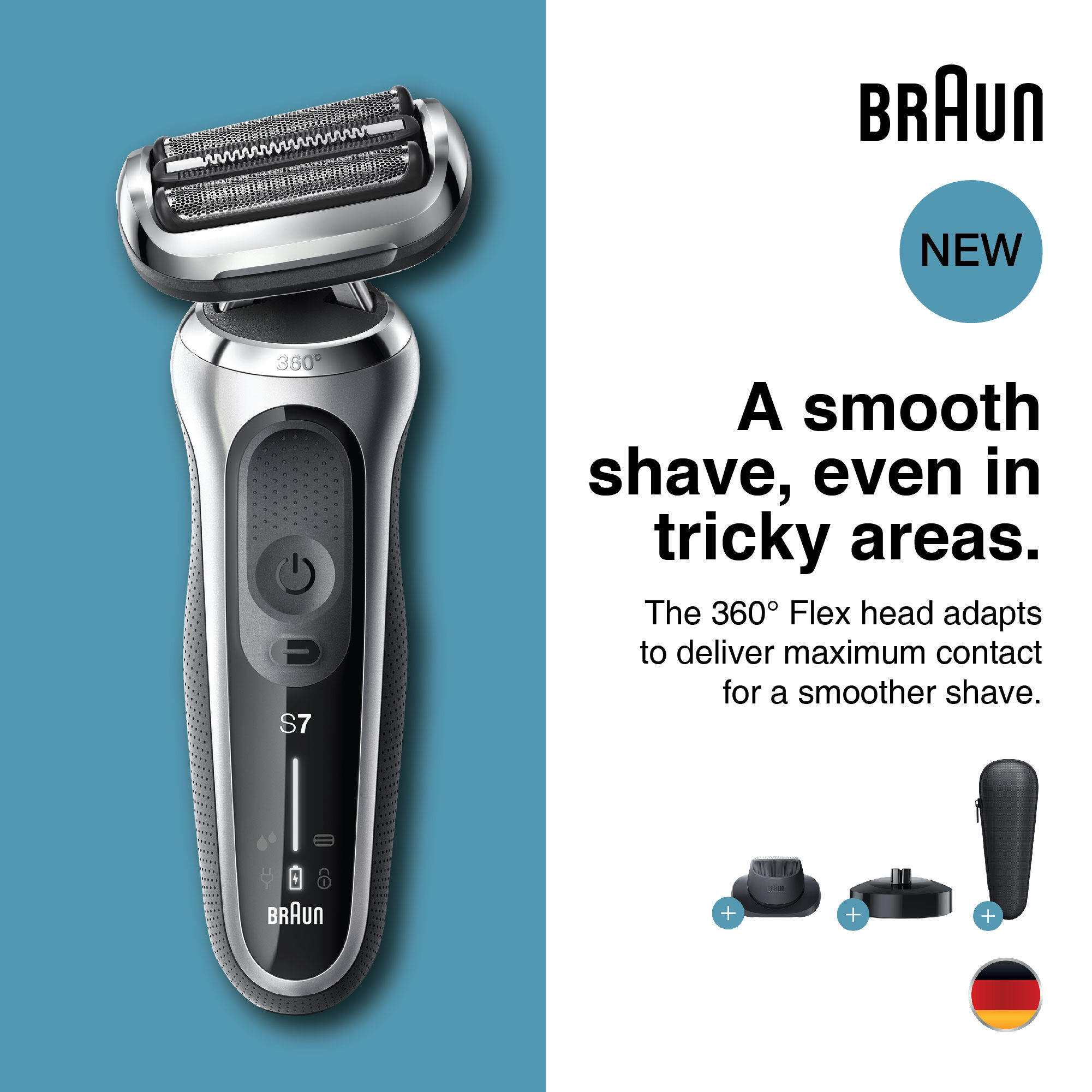 Braun Series 7 70-S4200cs Wet & Dry shaver with charging stand and 1 attachment, silver.
