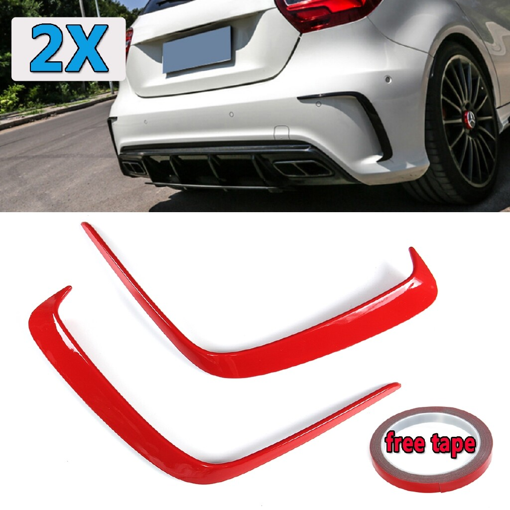 Automotive Tools & Equipment - 2 PIECE(s) Red Rear Flick Bumper Splitter Canards for Mercedes Benz W176 A45 AMG 13-16 - Car Replacement Parts